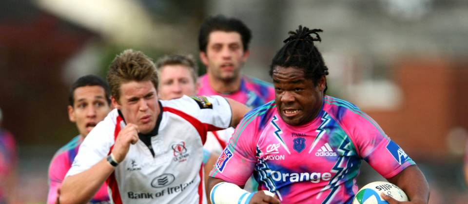 Mathieu Bastareaud, Stade Francais, in action against Darren Cave, Ulster. Heineken Cup, Pool 4, Round 1, Ulster v Stade Francais, Ravenhill Park, Belfast, Co. Antrim.