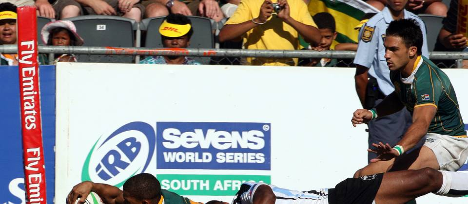 Ryno Benjamin scores the first of his two tries during the George IRB Sevens World Series 'X' Cup Semi Final 7s match between South Africa and Fiji held on the final day of the George Sevens at Outeniqua Park in George, Western Cape