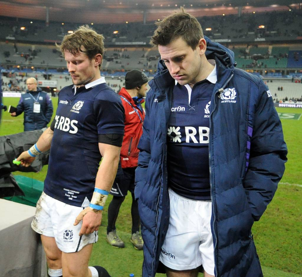 Tommy Seymour and Peter Horne after defeat at the hands of the French. Scotland have yet to get a win in the 6 Nations despite playing well.