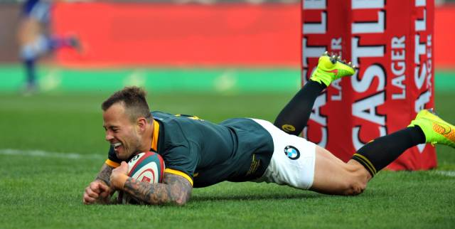 Hougaard goes over the line for try last October.