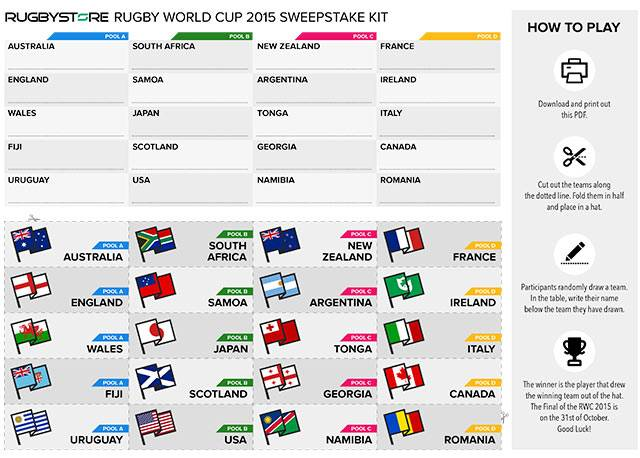 Rugby World cup 2015 sweepstake kit