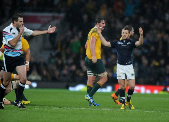 Greig Laidlaw - Scotland captain throws his hands up in dismay as referee Craig Joubert (South Africa) blows his whistle for full time. Scotland v Australia, Rugby World Cup, Quarter Final, Twickenham Stadium, London, England, Sunday 18 October 2015 ***PLEASE CREDIT: FOTOSPORT/DAVID GIBSON***
