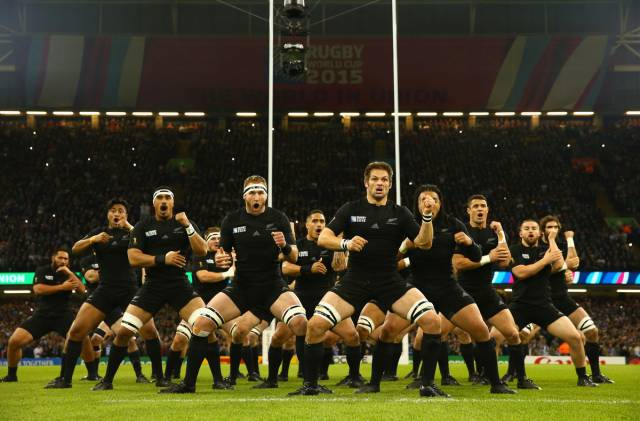 CARDIFF, WALES - OCTOBER 17: In this handout photograph provided by World Rugby, The New Zealand All Blacks perform The Haka during the 2015 Rugby World Cup Quarter Final match between New Zealand and France at the Millennium Stadium on October 17, 2015 in Cardiff, United Kingdom. (Photo by Matt Lewis/World Rugby )