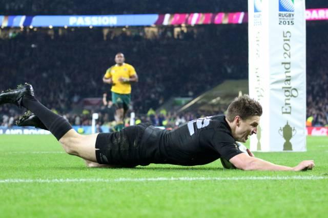 Beauden Barrett - New Zealand replacement dives over the line