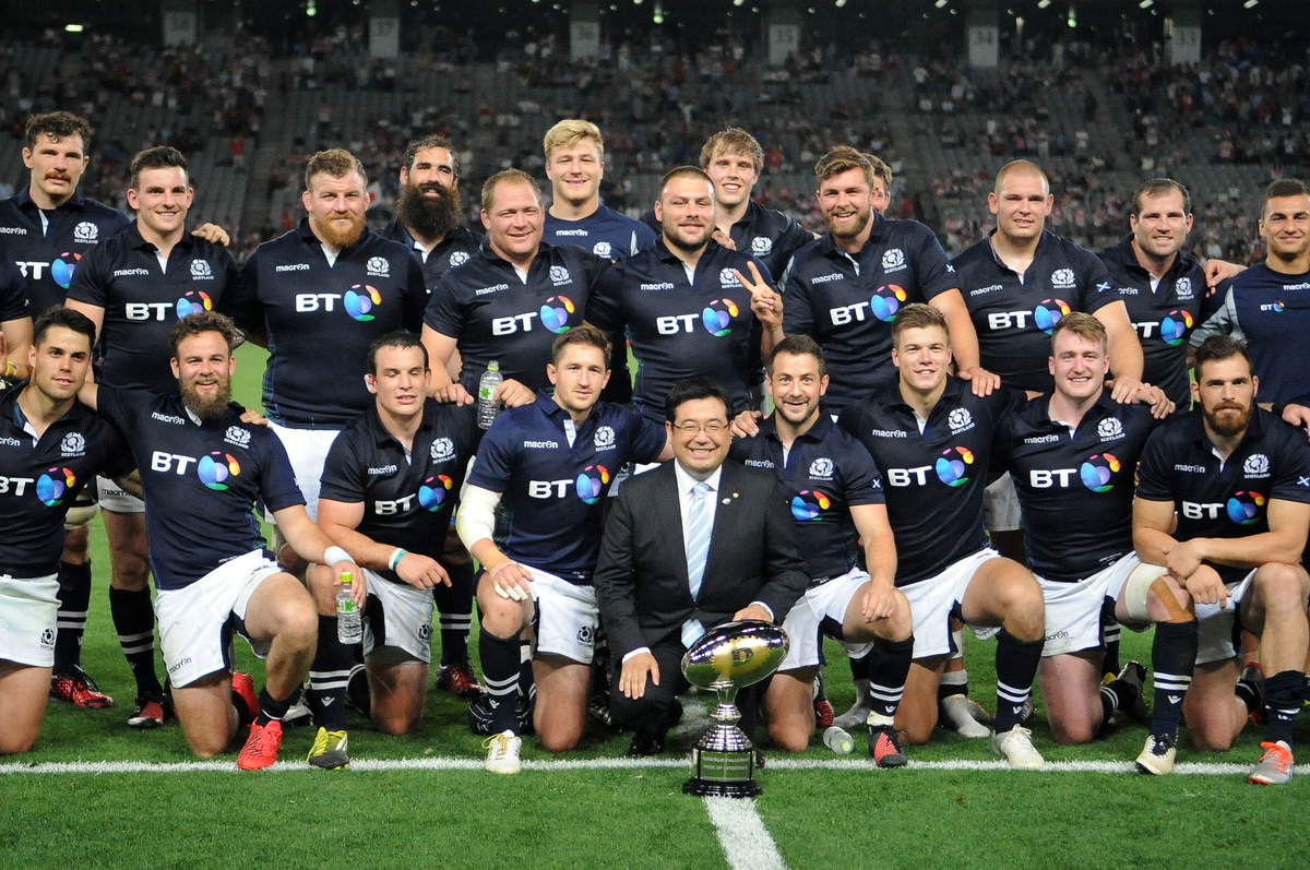 Scotlan dplayers celebrate their series victory over Japan. Japan v Scotland, Ajinomoto Stadium, Tokyo, Japan, Saturday 25 June 2016. ***Please credit: David Gibson/Fotosport***