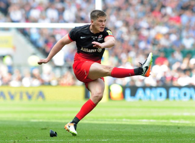 Rugby Union - 2016 Aviva Premiership Final - Saracens vs. Exeter Chiefs Owen Farrell of Saracens kicks a penalty goal at Twickenham. FOTOSPORT/ANDREW COWIE