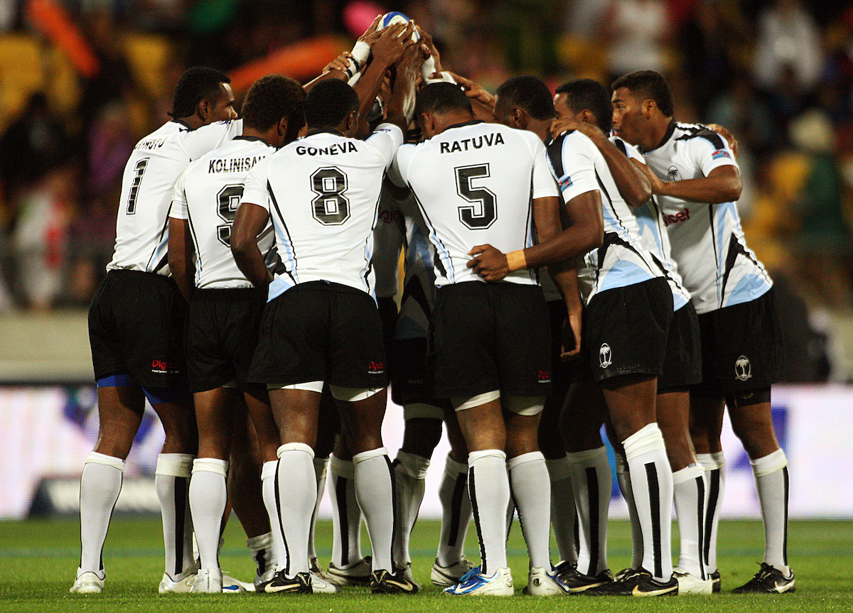 The Fijian team. IRB Wellington Sevens, Day One at Westpac Stadium, Wellington. 6 February 2009.  ***Mandatory credit: Fotosport/Dave Lintott***