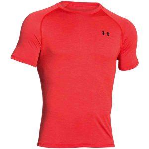 Mens Rocket Red Under Armour Heatgear Tech Tee Shirt