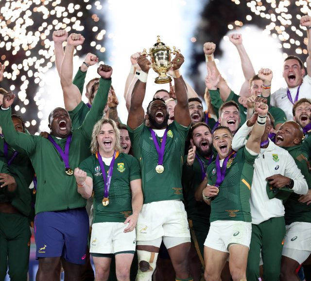 South Africa lift the Webb Ellis Trophy